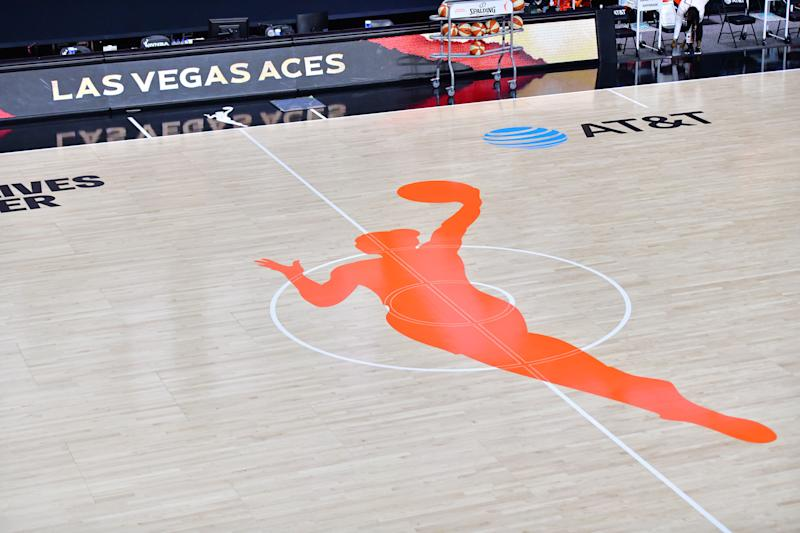 WNBA logo on the court at IMG Academy.