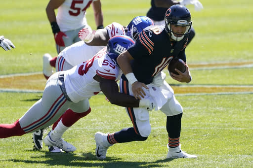 New York Giants linebacker Lorenzo Carter (59) sacks Chicago Bears quarterback Mitchell Trubisky (10) during the first half of an NFL football game in Chicago, Sunday, Sept. 20, 2020. (AP Photo/Nam Y. Huh)