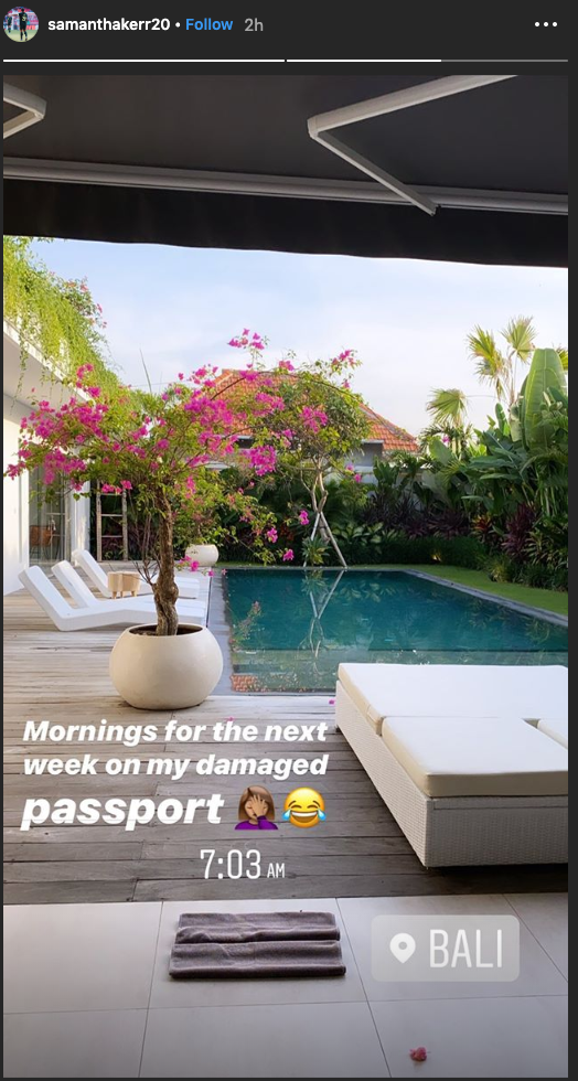 Sam Kerr's instagram story from Thursday morning, after she eventually made her flight to Bali. Picture: Instagram/@samanthakerr20