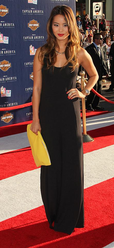 "<a href=""http://movies.yahoo.com/movie/contributor/1809766996"">Jamie Chung</a> at the Los Angeles premiere of <a href=""http://movies.yahoo.com/movie/1810026349/info"">Captain America: The First Avenger</a> on July 19, 2011."