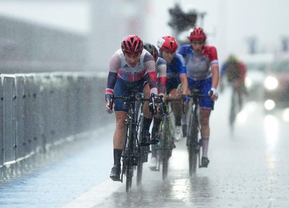 The rain pours down during the race (Tim Goode/PA) (PA Wire)