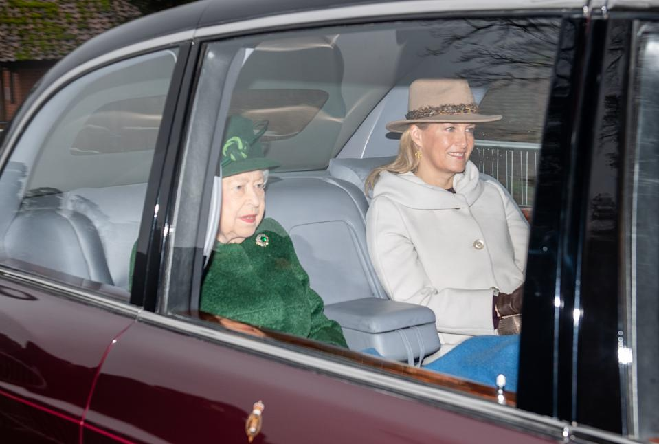 Queen Elizabeth II and The Countess of Wessex attend a church service at St Mary Magdalene Church in Sandringham, Norfolk. (Photo by Joe Giddens/PA Images via Getty Images)
