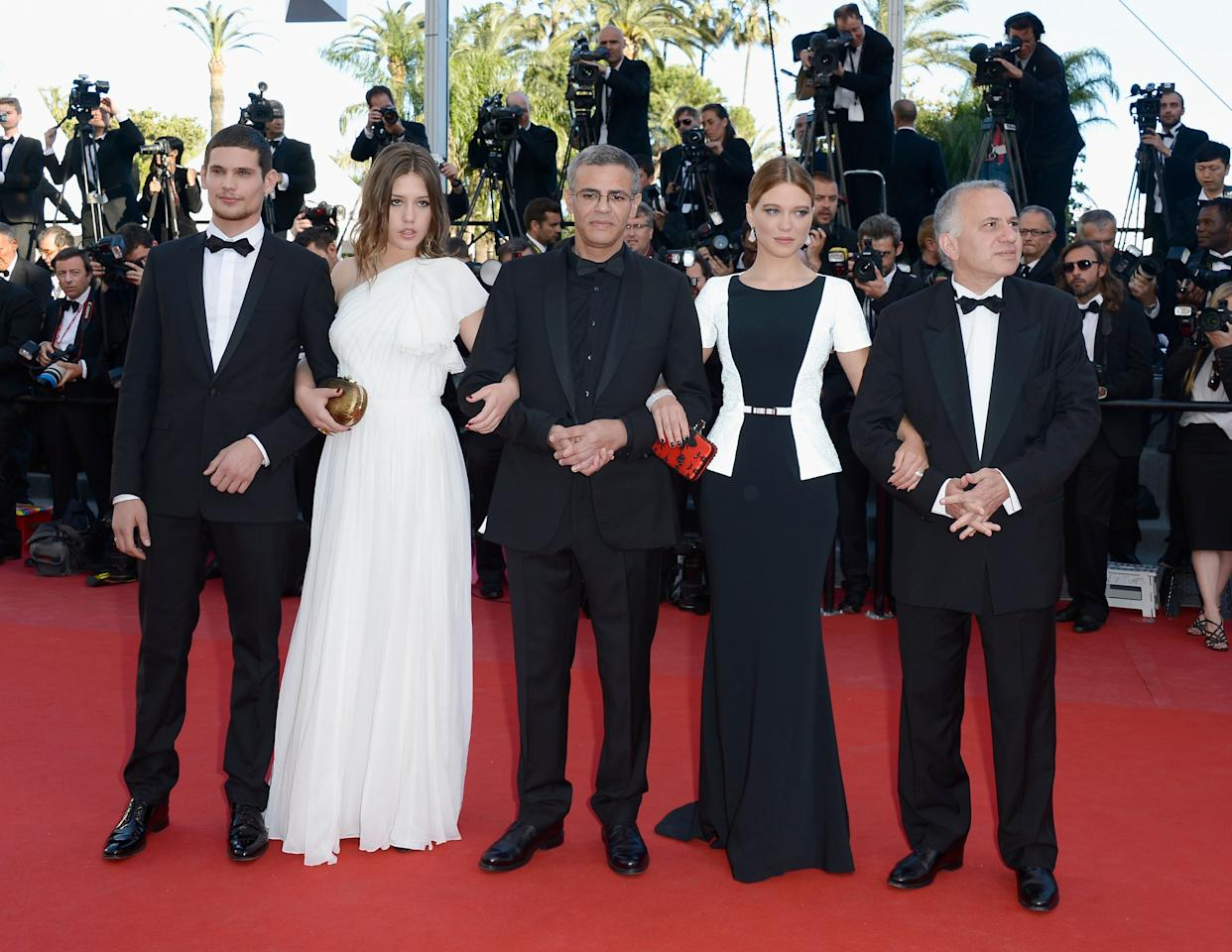 CANNES, FRANCE - MAY 26:  Actors Jeremie Laheurte, Adele Exarchopoulos, director Abdellatif Kechiche, actress Lea Seydoux and producer Brahim Chioua attend the 'Zulu' Premiere and Closing Ceremony during the 66th Annual Cannes Film Festival at the Palais des Festivals on May 26, 2013 in Cannes, France.  (Photo by Pascal Le Segretain/Getty Images)