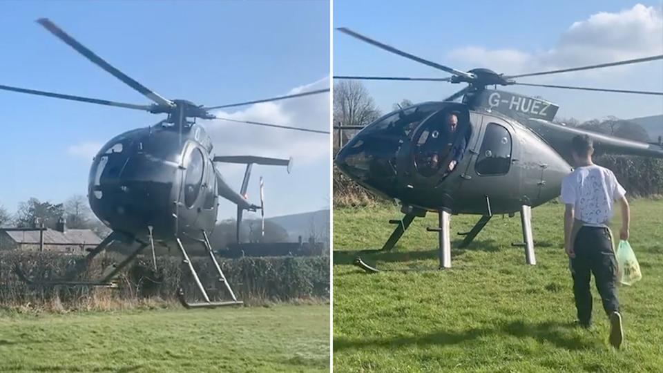 A man travelled over 120km by helicopter to pick up food during lockdown. Source: Instagram