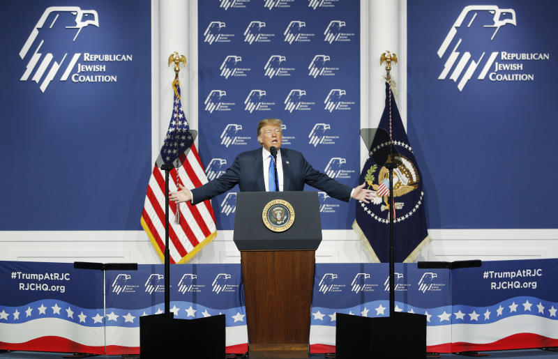 President Donald Trump speaks at an annual meeting of the Republican Jewish Coalition, Saturday, April 6, 2019, in Las Vegas. (AP Photo/John Locher)