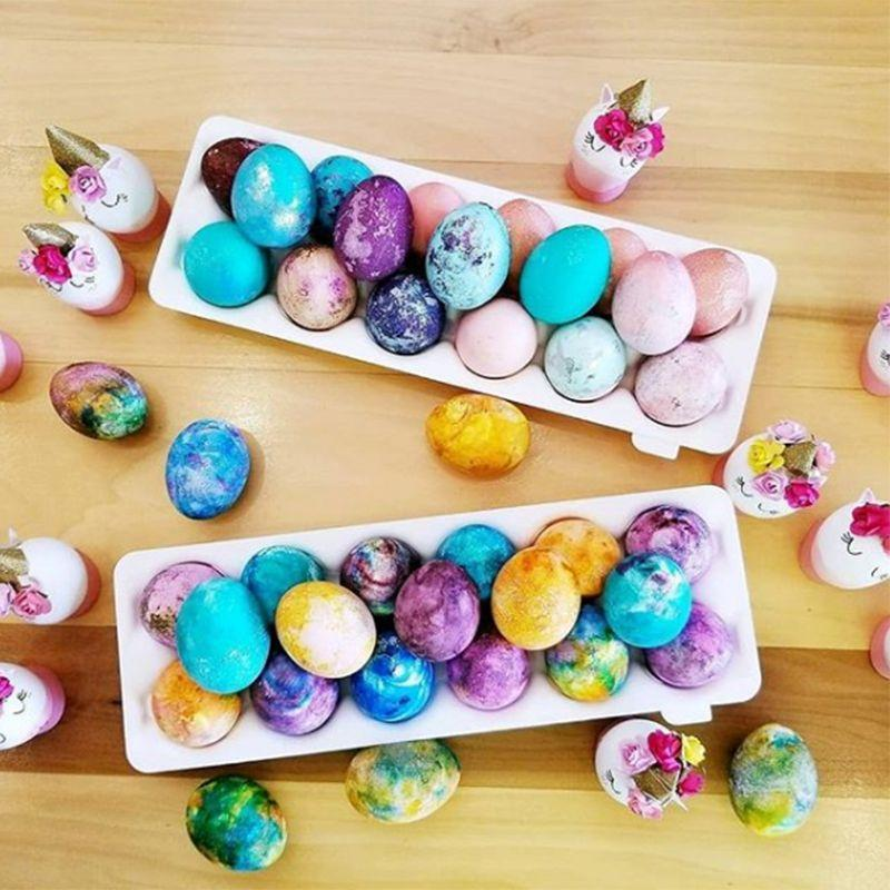 <p>Place the eggs back in their original cartons, or arrange them in a nice display for your friends and family to admire. To make them really shine, rub a tiny bit of vegetable oil on them to give them some sparkle. Unlike other dyed eggs, make sure you don't eat these, since the shaving cream makes them unsafe for consumption.</p>