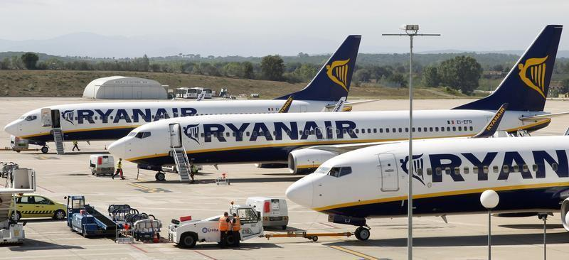 Ryanair planes are seen parked at Girona airport