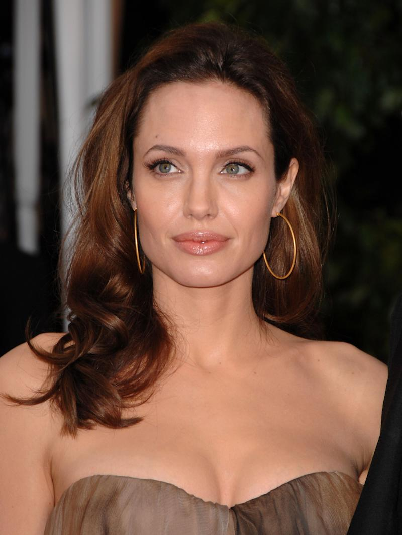 Actress Angelina Jolie wore her hair in bouncy curls to the 14th Annual Screen Actors Guild Awards at the Shrine Auditorium on January 27, 2008 in Los Angeles, California.