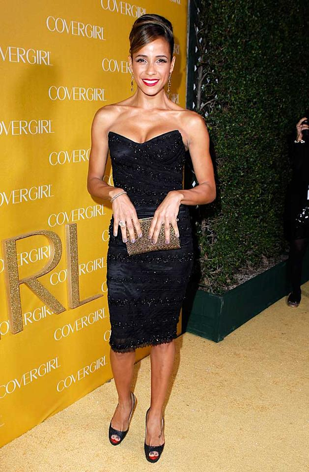 "Fellow spokesmodel and ""Entourage"" actress, Dania Ramirez, also opted for a sparkly black number. Do you think there was a dress code for the party!? Jeff Vespa/<a href=""http://www.gettyimages.com/"" target=""new"">GettyImages.com</a> - January 5, 2011"