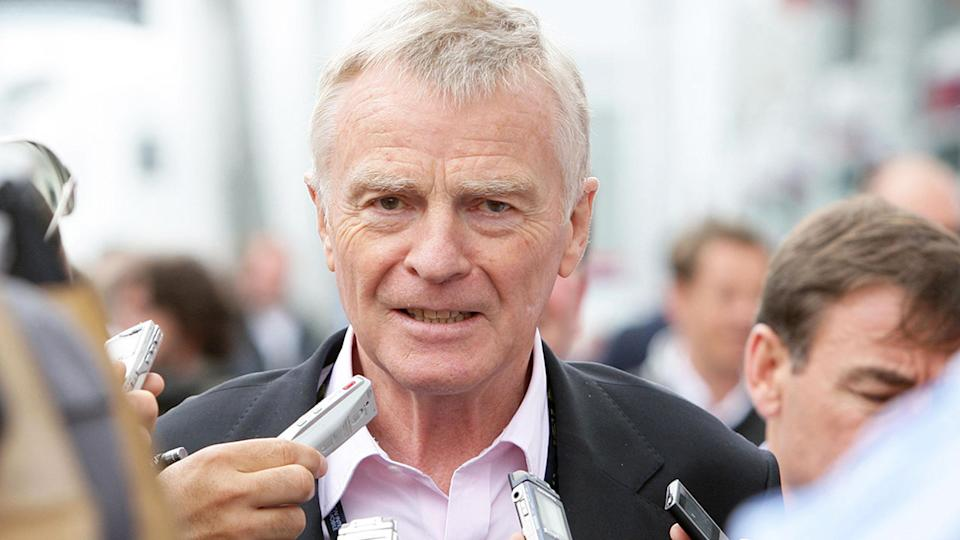 Former Formula One boss Max Mosley is seen here addressing media.