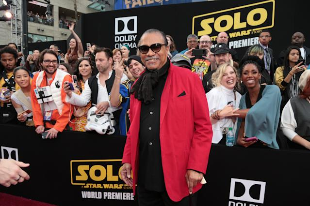 Billy Dee Williams, the OG Lando, plays to the crowd. (Photo: Lucasfilm/Disney)