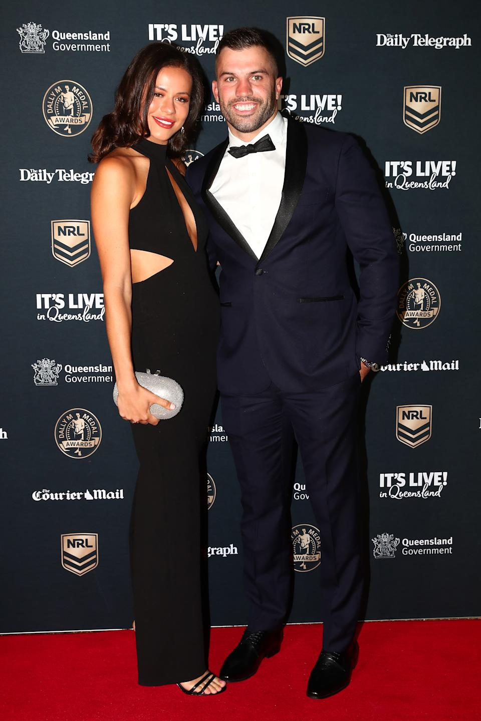 Dally M James Tedesco of the Roosters and his partner Maria Glinellis