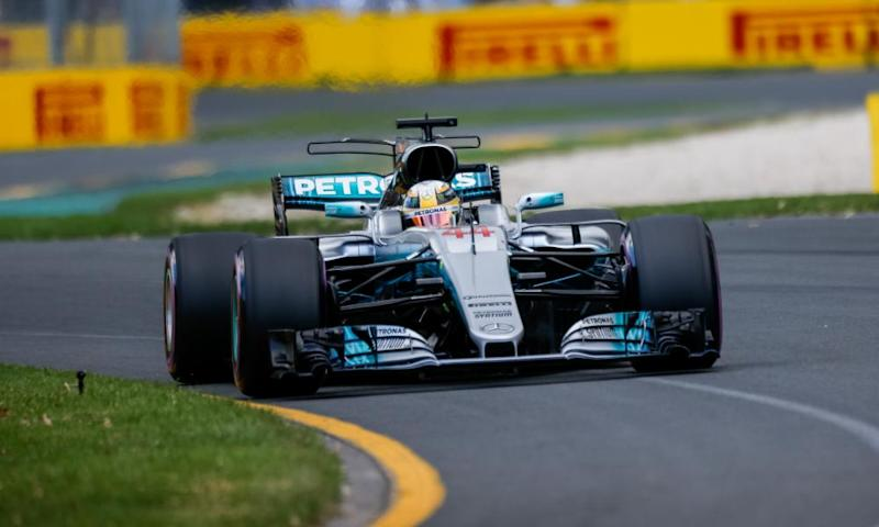 Lewis Hamilton on his way to pole in Melbourne.