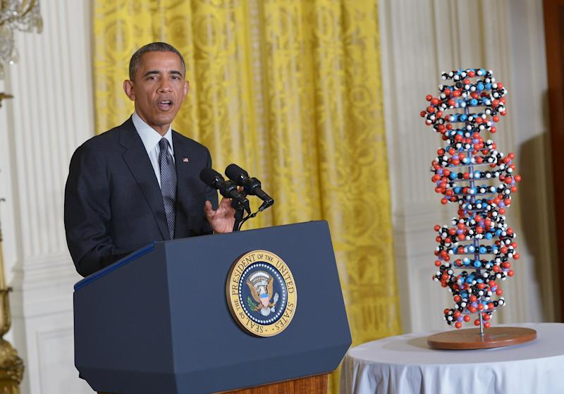 """US President Barack Obama speaks on investments in """"precision medicine"""" on January 30, 2015 in the East Room of the White House in Washington, DC"""