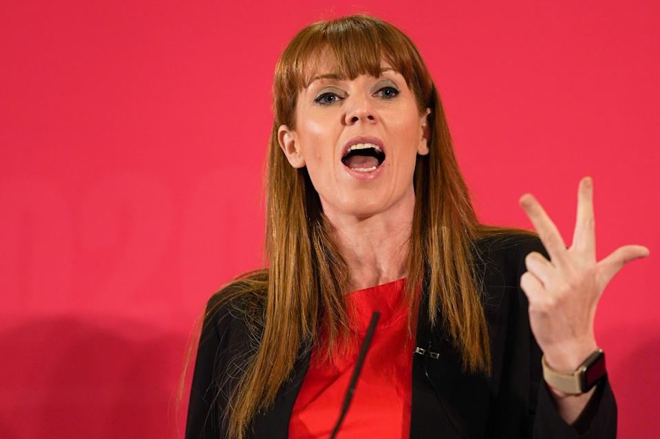 DURHAM, ENGLAND - FEBRUARY 23: Angela Rayner, Shadow Secretary of State for Education speaks to the audience during the Labour Party Deputy Leadership hustings at the Radisson Blu Hotel on February 23, 2020 in Durham, England. Ian Murray, Angela Rayner, Richard Burgon, Dr Rosena Allin-Khan and Dawn Butler are vying to become Labour's deputy leader following the departure of Tom Watson, who stood down in November last year. The ballot will open to party members and registered and affiliated supporters on February 24. (Photo by Ian Forsyth/Getty Images)