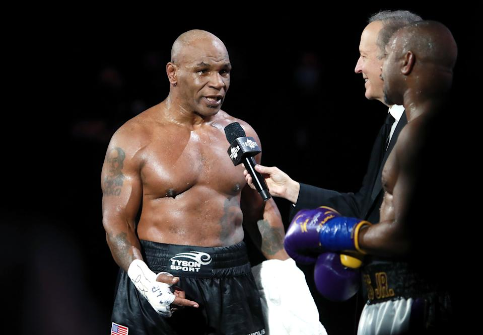 Mike Tyson reacts after receiving a split draw against Roy Jones Jr. at Staples Center in Los Angeles on Nov. 28, 2020. (Joe Scarnici/Getty Images for Triller)