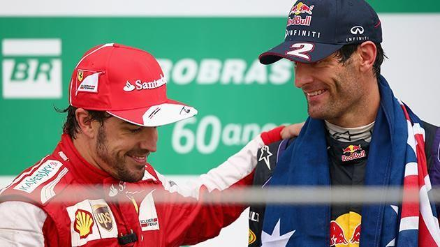 Alonso and Webber on the podium at Brazil in 2013. Pic: Getty