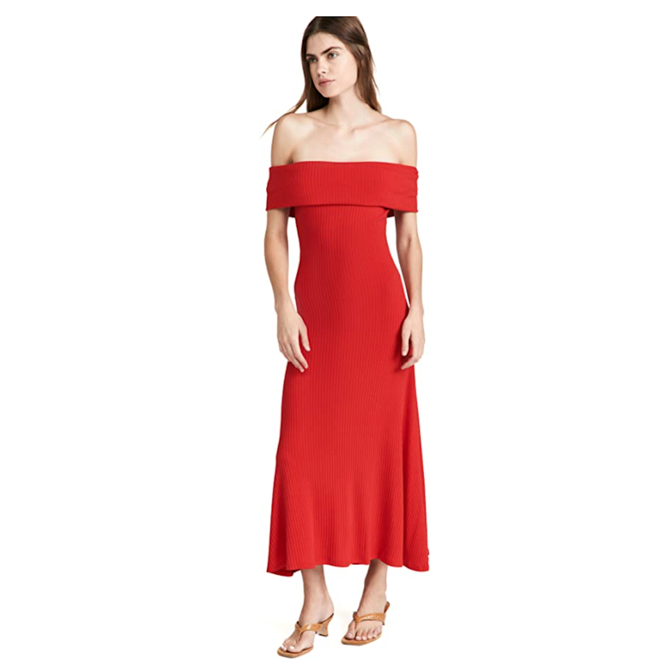 """Sometimes, your décolletage deserves to be the star of the show. And this off-the-shoulder maxi dress will make you channel your inner dancing emoji as you step out for the night. $295, Amazon. <a href=""""https://www.amazon.com/Mara-Hoffman-Womens-Imogen-XX-Large/dp/B099T6R3KX"""" rel=""""nofollow noopener"""" target=""""_blank"""" data-ylk=""""slk:Get it now!"""" class=""""link rapid-noclick-resp"""">Get it now!</a>"""