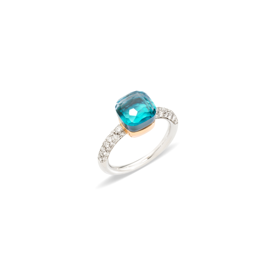 """<p>pomellato.com</p><p><strong>$4000.00</strong></p><p><a href=""""https://www.pomellato.com/en_us/jewelry/rings/nudo-petit-ring-white-gold-18kt-rose-gold-18kt-blue-topaz-agate-diamond?childSku=PAB7040_O6WHR_DB0OY_49"""" rel=""""nofollow noopener"""" target=""""_blank"""" data-ylk=""""slk:Shop Now"""" class=""""link rapid-noclick-resp"""">Shop Now</a></p><p>Like a beach vacation you can wear on your finger, the sea blue topaz of this diamond-studded ring will bring a sense of effortless cool to all of her looks. </p>"""