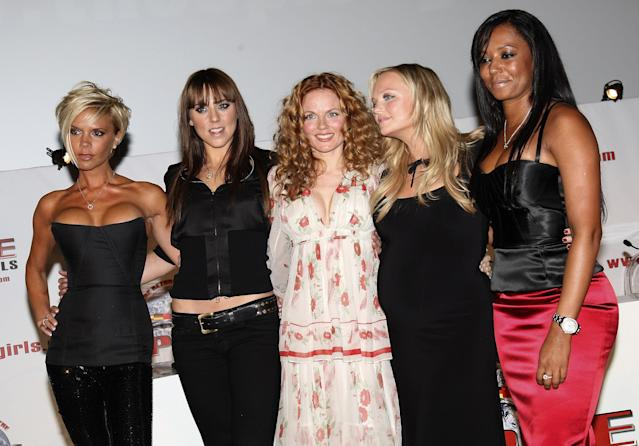 (L-R) Victoria Beckham, Melanie C, Geri Halliwell, Emma Bunton, and Mel B of Spice Girls attending news conference to make a 'Big Announcement' With Regards To A World Tour And Album at O2 Arena on June 28, 2007 in London, England. (Photo by MJ Kim/Getty Images)