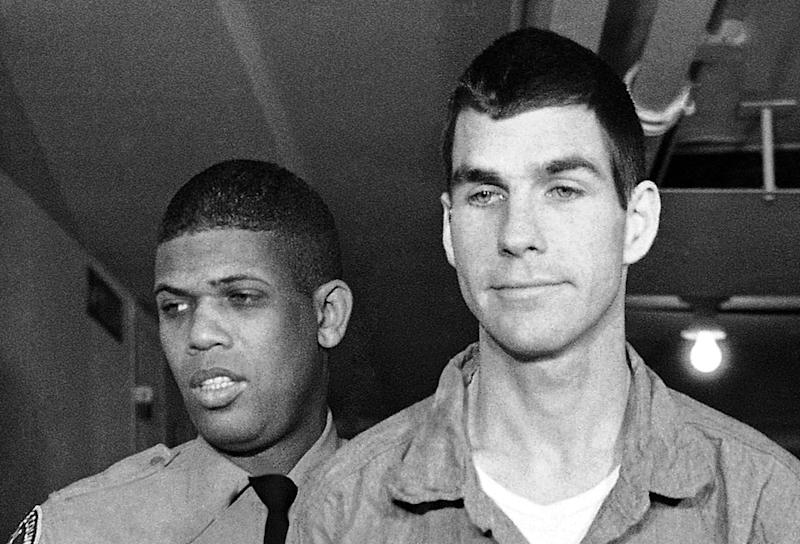 FILE - This March 1, 1971, file photo shows Charles Tex Watson, right, arriving for court in Los Angeles, Calif. Watson wrote in a motion filed Thursday, June 7, 2012 that Los Angeles police should be allowed to listen to but not take possession of eight hours of audio recordings of conversations made four decades ago with attorney Bill Boyd.  Watson is serving a life sentence for his role in the 1969 Tate-La Bianca murders. (AP Photo/Wally Fong, File)