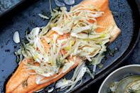 """You don't want to be fussing with fish on the stovetop in the midst of a lengthy seder. Instead, give it time in a 300°F oven, hands-off. <a href=""""https://www.epicurious.com/recipes/food/views/slow-roasted-char-with-fennel-salad?mbid=synd_yahoo_rss"""" rel=""""nofollow noopener"""" target=""""_blank"""" data-ylk=""""slk:See recipe."""" class=""""link rapid-noclick-resp"""">See recipe.</a>"""