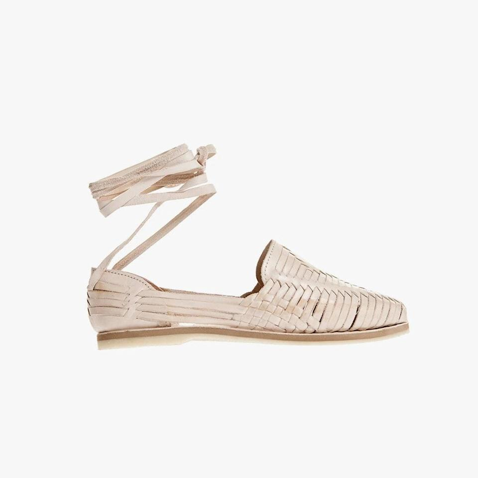 """$225, BROTHER VELLIES. <a href=""""https://brothervellies.com/collections/all/products/blush-lace-up-huarache"""" rel=""""nofollow noopener"""" target=""""_blank"""" data-ylk=""""slk:Get it now!"""" class=""""link rapid-noclick-resp"""">Get it now!</a>"""
