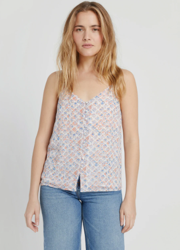 Floral-Print Button-Up Slip Cami in Blue