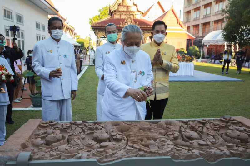 Ceremony to celebrate the return of two ancient relics held by the Bangkok National Museum