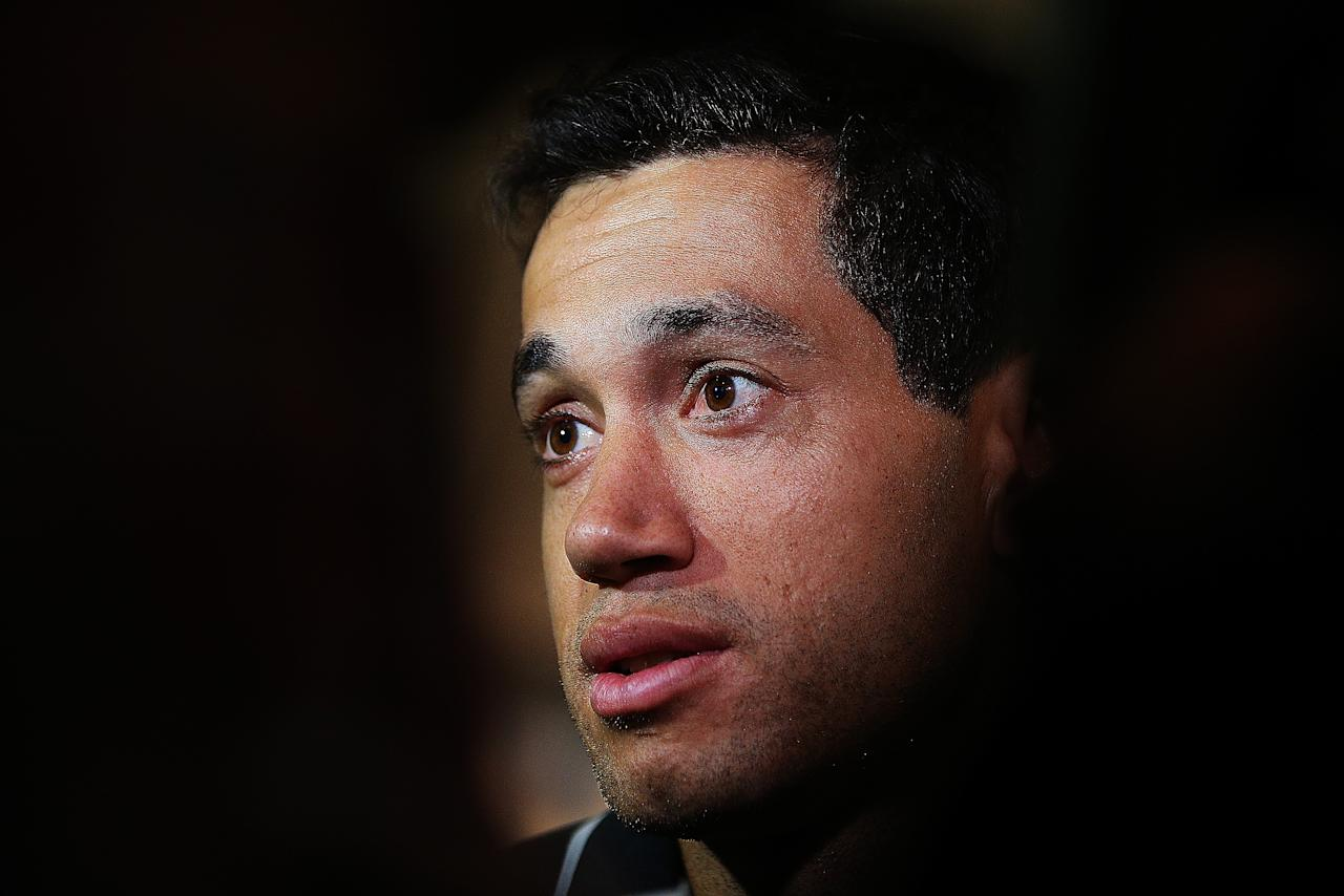 AUCKLAND, NEW ZEALAND - OCTOBER 04:  Captain Ross Taylor of the Black Caps speaks to the media after arriving back from the Twenty20 cricket world cup at Auckland International Airport on October 4, 2012 in Auckland, New Zealand.  (Photo by Hannah Johnston/Getty Images)