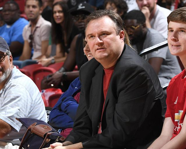 "<a class=""link rapid-noclick-resp"" href=""/nba/teams/hou"" data-ylk=""slk:Houston Rockets"">Houston Rockets</a> general manager Daryl Morey watches intently. (Getty)"
