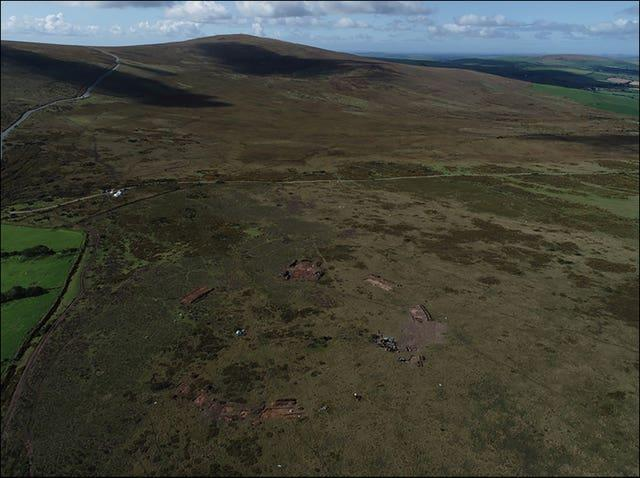 The stone circle discovered in the Preseli Hills from above (Adam Stanford/Antiquity Journal/PA)