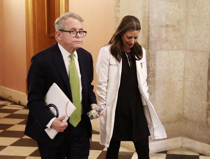 Ohio Gov. Mike DeWine and Ohio Department of Health Director Dr. Amy Acton