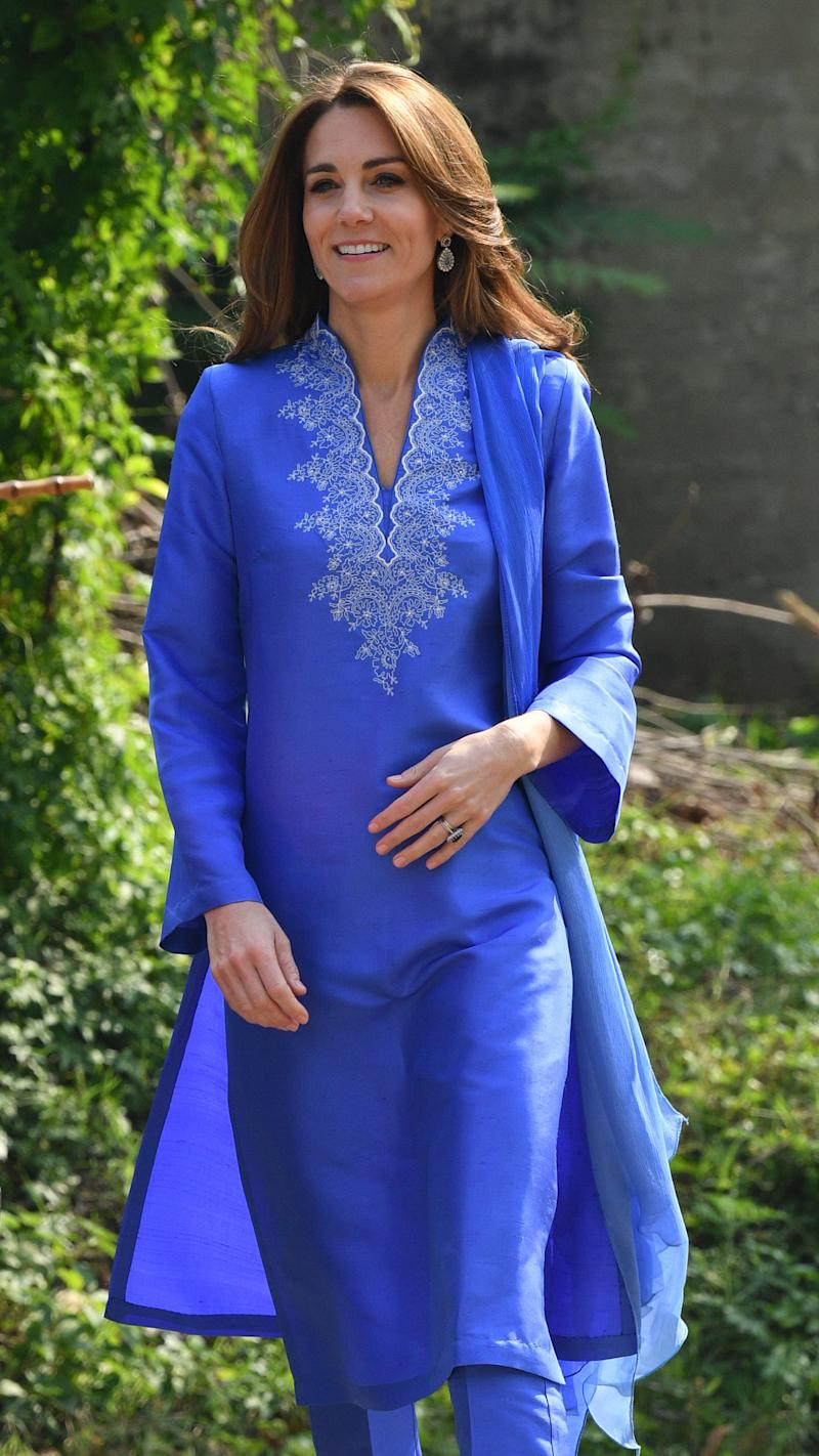 ISLAMABAD, PAKISTAN - OCTOBER 15: (UK OUT FOR 28 DAYS) Catherine, Duchess of Cambridge visits a government run school in Islamabad on October 15, 2019 in Islamabad, Pakistan. (Photo by Tim rRPool/Samir Hussein/WireImage)