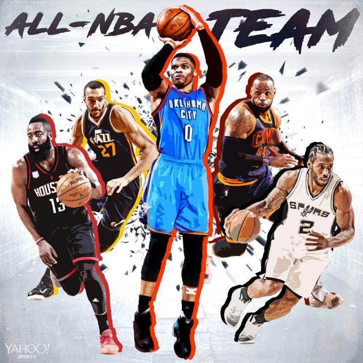 The BDL crew's unanimous First Team All-NBA squad. (Thanks to Amber Matsumoto on graphics)