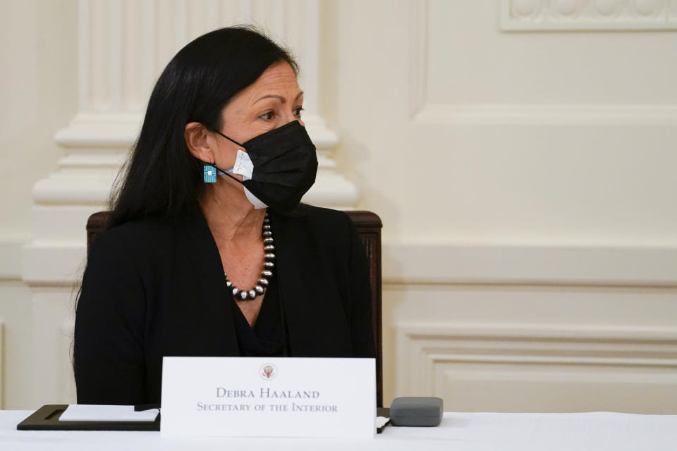 Secretary of the Interior Secretary Deb Haaland attends a Cabinet meeting with President Joe Biden in the East Room of the White House, Thursday, April 1, 2021, in Washington. (AP Photo/Evan Vucci)