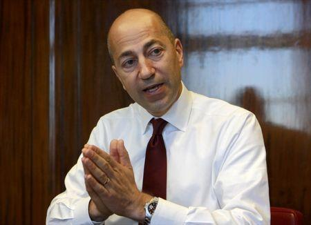 Chief Executive Officer of Arsenal Gazidis gestures during an interview with Reuters in his office in London