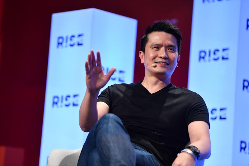 HONG KONG , Hong Kong - 9 July 2019; Min-Liang Tan, Co-founder & CEO, Razer, on Centre Stage during day one of RISE 2019 at the Hong Kong Convention and Exhibition Centre in Hong Kong. (Photo By Stephen McCarthy/Sportsfile via Getty Images)