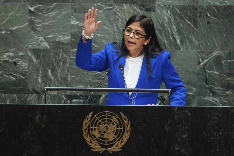 Venezuela's Vice President Delcy Rodríguez addresses the 74th session of the United Nations General Assembly at U.N. headquarters Friday, Sept. 27, 2019. (AP Photo/Kevin Hagen)