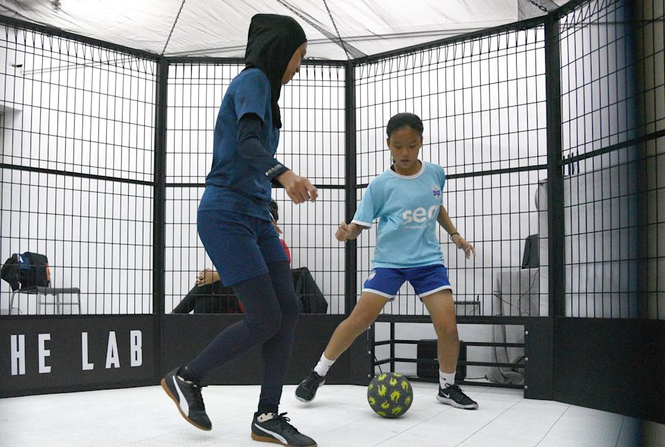 Action at the inaugural FAS Women's Panna Challenge at Expy The Lab at Queensway Shopping Centre. (PHOTO: Football Association of Singapore)