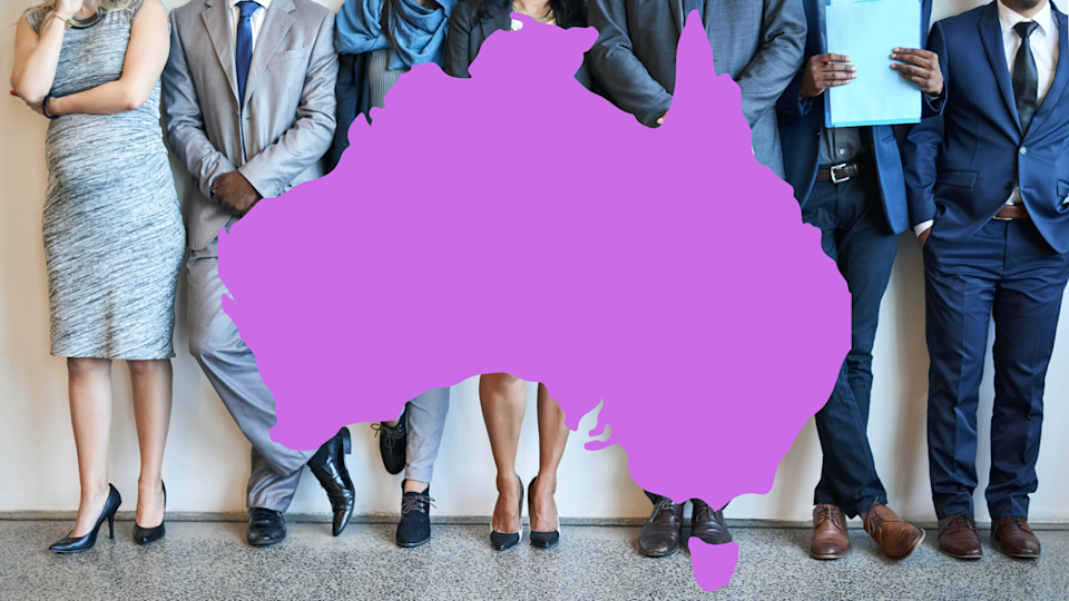Pictured: Australian jobseekers, Australian map. Image: Getty