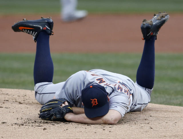 Detroit Tigers starting pitcher Jordan Zimmermann lays on the mound after getting hit by a line drive off the bat of Cleveland Indians' Jason Kipnis. (AP)