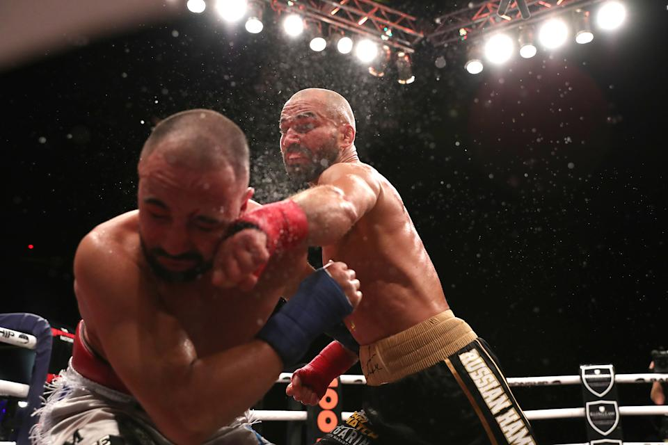 TAMPA, FL - JUNE 22: Artem Lobov catches Paulie Malignanni with a left hand during the Bare Knuckle Fighting Championships at Florida State Fairgrounds Entertainment Hall on June 22, 2019 in Tampa, Florida. (Photo by Alex Menendez/Getty Images)