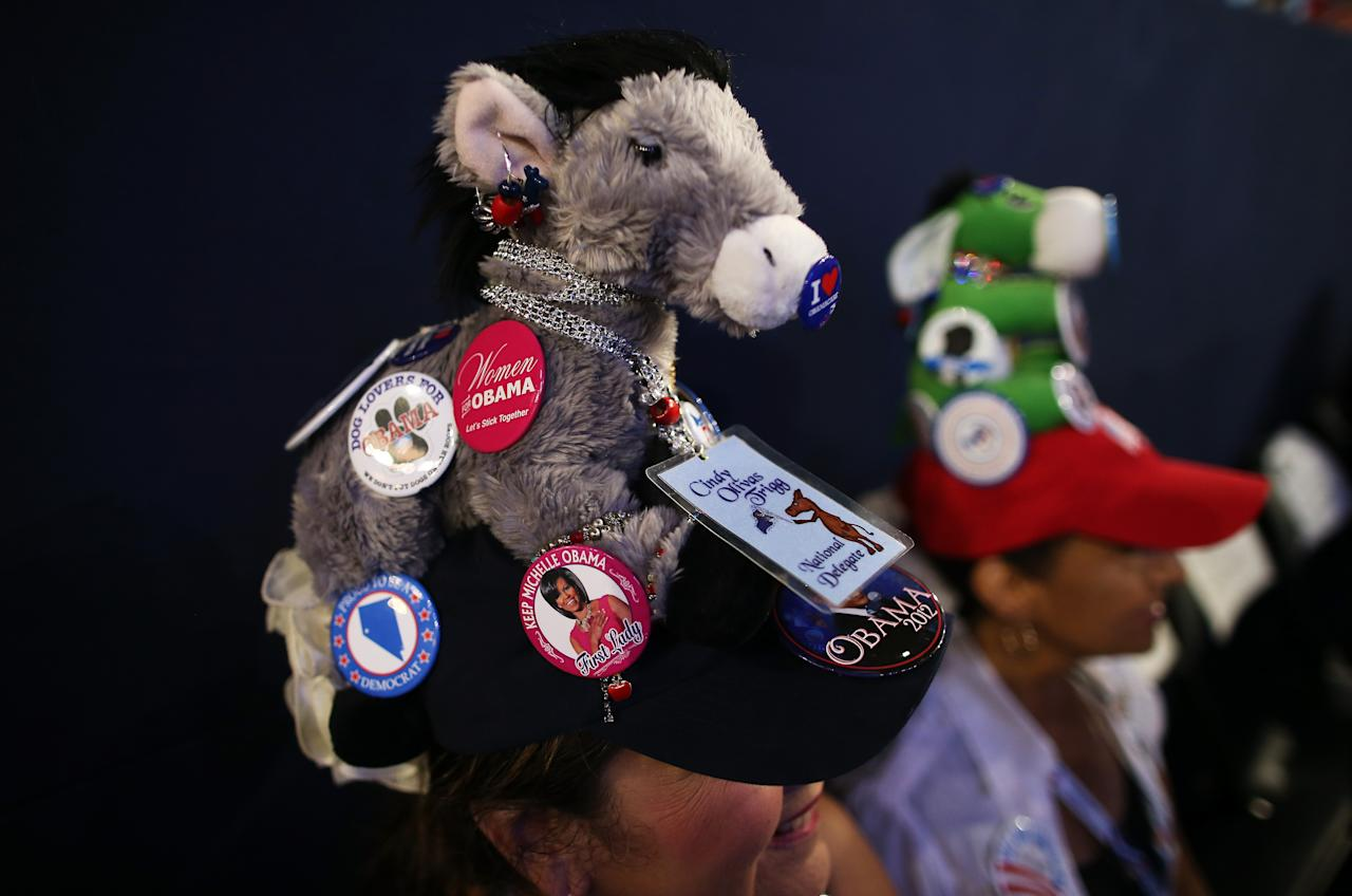 CHARLOTTE, NC - SEPTEMBER 06:  Cindy Trigg wears a hat decorated with a plush donkey and campaign buttons during the final day of the Democratic National Convention at Time Warner Cable Arena on September 6, 2012 in Charlotte, North Carolina. The DNC, which concludes today, nominated U.S. President Barack Obama as the Democratic presidential candidate.  (Photo by Tom Pennington/Getty Images)