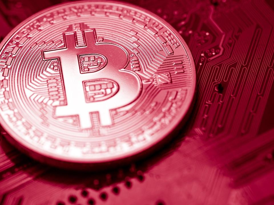Bitcoin's price is notoriously volatile, having traded between $7,000 and $65,000 between 23 April 2020 and 23 April 2021 (Getty Images)