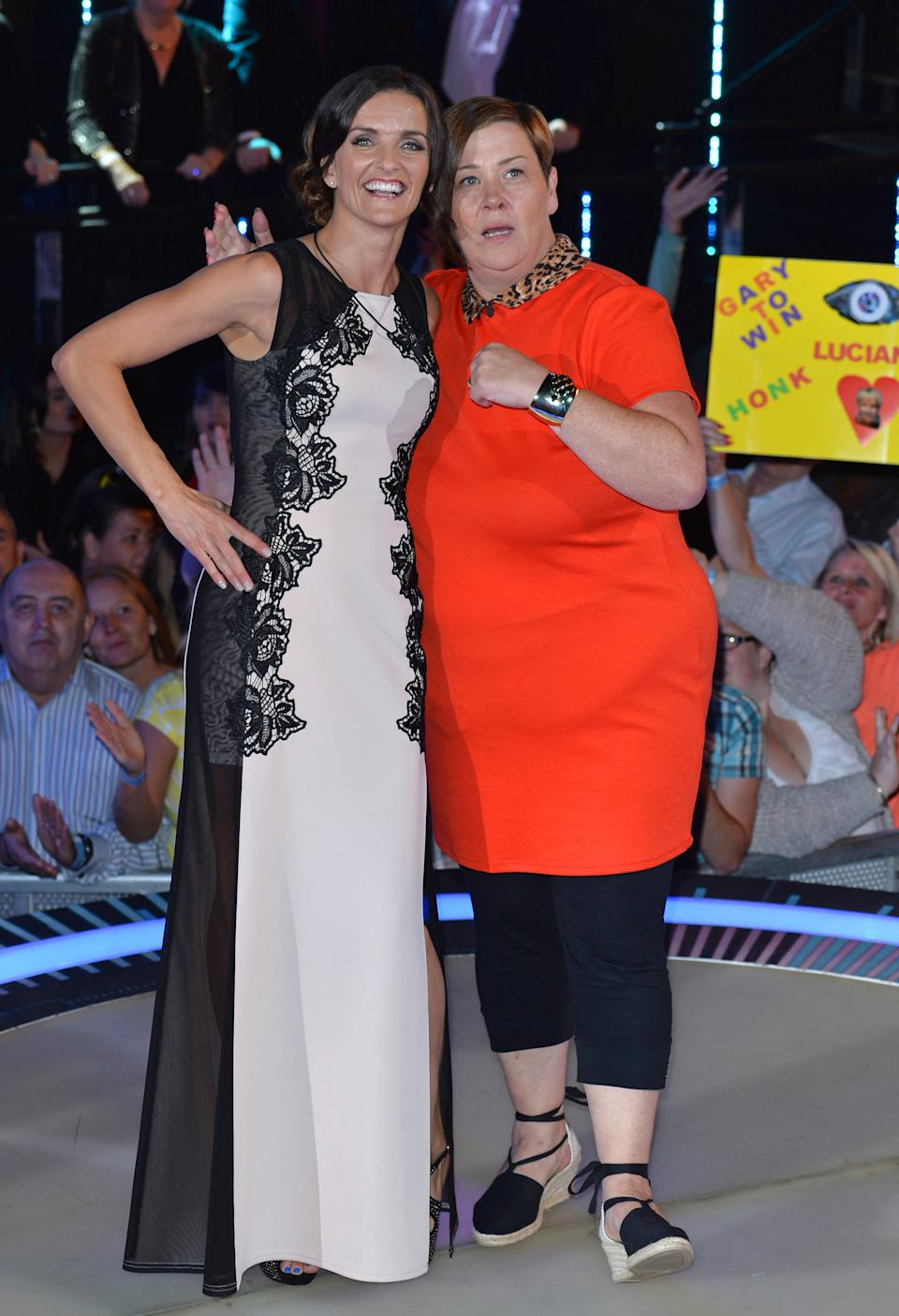 Edele Lynch and Dee Kelly are evicted from the Celebrity Big Brother house at Elstree Studios on September 12, 2014 in Borehamwood, England.  (Photo by Karwai Tang/WireImage)