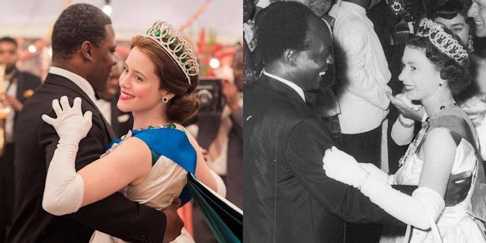 <p> Now that season 4 of <em>The Crown</em> on Netflix is coming up faster than you can say Megxit, let's take a sec to appreciate the cast compared to their real-life counterparts. The last two seasons have given us loads of new actors, like Olivia Colman taking over the role of Queen Elizabeth after Claire Foy had previously played the role for the first two seasons. We also now have Helena Bonham Carter as Princess Margaret taking over for Vanessa Kirby and Tobias Menzies taking over Matt Smith's role of Prince Philip. And With all these exciting changes, and as an excuse to look at all your fave characters, let's see what 54 actors from <em>The Crown</em> look like next to the real people they portray.</p>