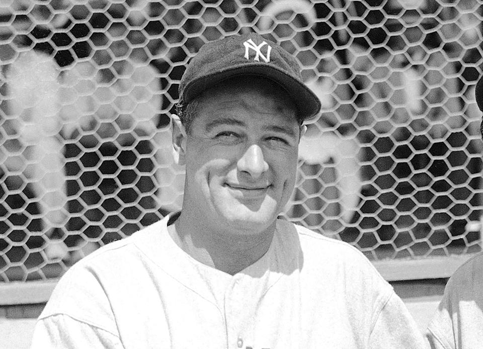 FILE - New York Yankees' Lou Gehrig poses at a spring training game in St. Petersburg, Fla., in this March 16, 1935, file photo. Major League Baseball will hold its first Lou Gehrig Day on June 2, 2021, adding Gehrig to Jackie Robinson and Roberto Clemente on the short list of players honored throughout the big leagues. (AP Photo/Tom Sande, File)
