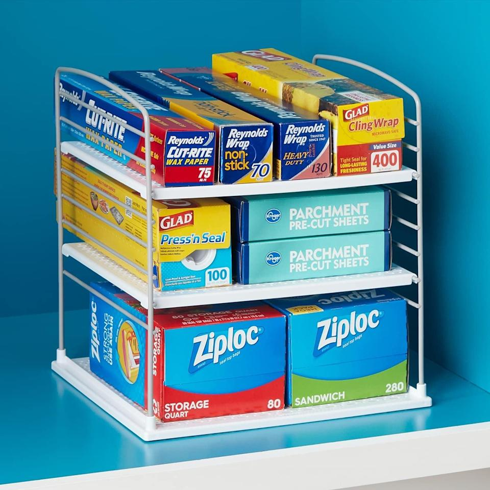 <p>Make organizing your cabinets and shelves easier with this <span>YouCopia UpSpace Organizer</span> ($31, originally $35). It's perfect for storing cleaning supplies, makeup and skin care, kitchen must-haves, and so much more. </p>