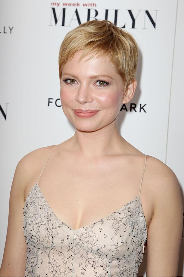 "FILE - In this Nov. 13, 2011 file photo, actress Michelle Williams, who portrays Marilyn Monroe, attends the New York Premiere of The Weinstein Company's ""My Week With Marilyn,"" at the Paris Theater in New York. Williams was nominated Tuesday, Jan. 24, 2012, for best actress for her role in the film. The Oscars will be presented Feb. 26 at the Kodak Theatre in Los Angeles, hosted by Billy Crystal and broadcast live on ABC. (AP Photo/Starpix, Amanda Schwab)"